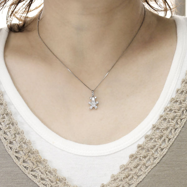 プラチナ900 クマ ダイヤモンド 1.00ct ペンダント ネックレス ベア アニマル PT900 誕生日 記念日 自分ご褒美 プレゼント ギフト