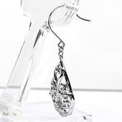 ダイヤモンド/フックピアス/透かし模様/アラベスク調/プラチナ900/天然ダイヤモンド/ギフト結婚記念/誕生日/プレゼント/彼女/プラチナ/自分ご褒美
