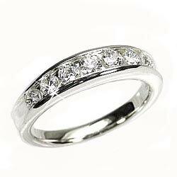 ダイヤモンド0.50ct レール留 エタニティリング VSクラス K18ホワイトゴールド 一文字 鑑定書 結婚指輪 記念日 プレゼント