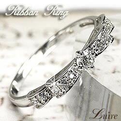 W・リボン ダイヤモンドリング PT900 VS-SIクラス プラチナ900 天然ダイヤモンド 誕生日 プレゼン...