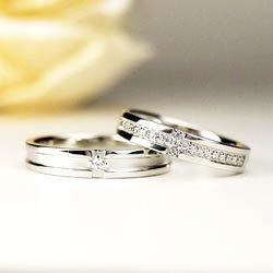 プラチナ900 ペアリング クロス 結婚指輪 天然ダイヤモンド  結婚記念 マリッジリング