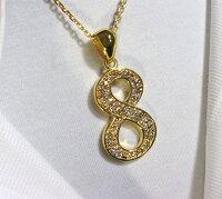 Silver925特注LサイズナンバーネックレスNo.818金コーテイングジルコニア装飾