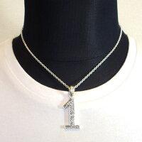 Silver925特注LサイズナンバーネックレスNo.1数字ネックレスジルコニア装飾
