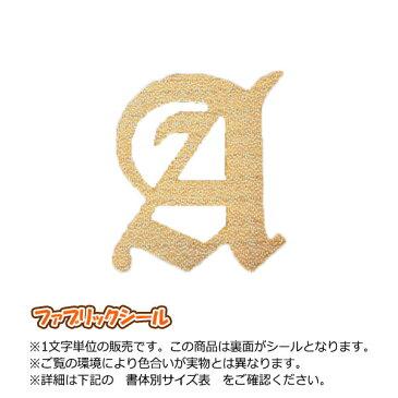 飾り文字ファブリックシール(アルファベット8cmサイズ)刺繍調【金・銀】