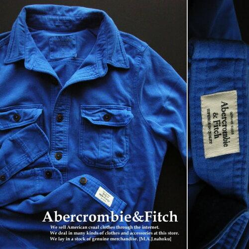 4462新品★アバクロンビー&フィッチ Abercrombie&Fitch★カット地シャツ★ブルー★L★MENS