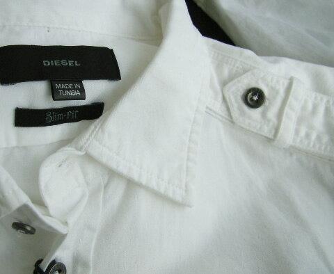 6510-2新品★ディーゼル DIESEL★胸ロゴシャツジャケット2701★白★MENS★