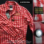 4421新品★ジースター G-STAR RAW★デザインチェックシャツ2363★赤白★L★MENS★