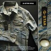 5641新品★ジースター G-STAR RAW★デザインチェックシャツ2502★グレー系青★M★MENS★