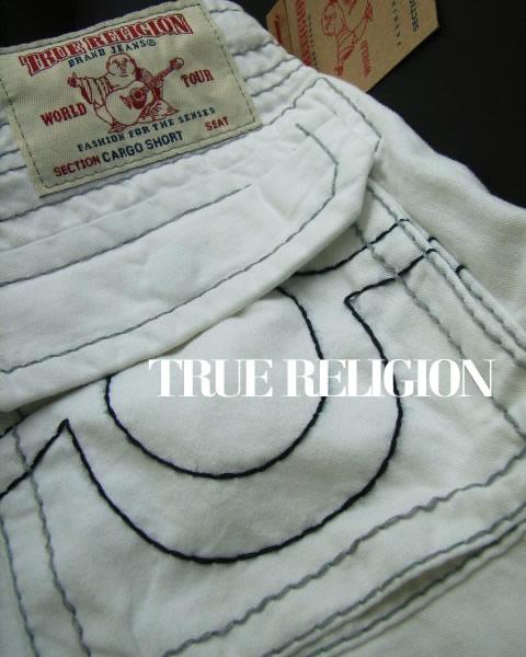 6636-7新品★トゥルーレリジョン TRUE RELIGION★ヴィンテージカーゴ短パン2603 CARGO CUTOFF★白系★MENS