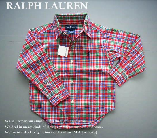 c411ebdd899bb 2132-4新品☆ラルフローレン RALPH LAUREN☆チェックシャツ☆赤系MIX☆INFANT BOY☆子供服