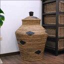 アタとラタンで作ったランドリーバスケット高さ60Cm 【バリ島直輸入 バリ雑貨 アジアン雑貨 インドネシア 収納 バスケット】