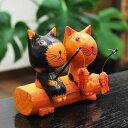 木彫りの置物 釣りを楽しむバリ猫のカップル 【バリ島直輸入 バリ雑貨 ...