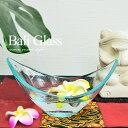 アジアン雑貨 バリガラス ディスプレイトレイ クラック・ボート型インド...