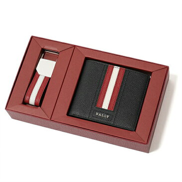BALLY バリー GIFTBOX TY 二つ折り財布+キーチャーム セット ギフトボックス ミニ財布 カードケース キーホルダー メンズ