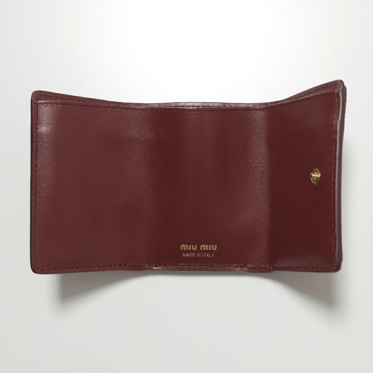 【エントリーでポイント3倍対象!24日23時59まで】MIUMIUミュウミュウ5MH0212B8GF0041レザー三つ折り財布ミニ財布豆財布型押しRUBINOレディース