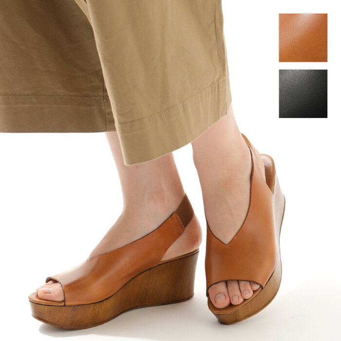 【エントリーでポイント最大8倍!25日21時〜23時59まで】ENESS エネス 55750V カラー2色レザー プラットフォーム サンダル ウェッジソール 厚底 バックストラップ 靴 レディース