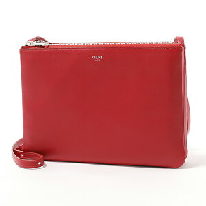 CELINE Celine 187613BEB.27ED Large Trio Large Trio Leather Shoulder Bag Pochette Pouch RED Bag Ladies