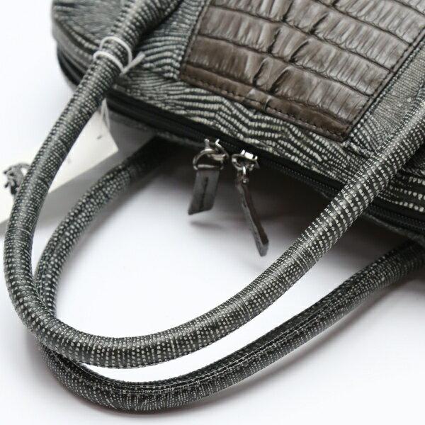 【新品】  2way  スパニッシュラム カイマン使用 LB-4035 ニコチン ブラック ハンドバッグ