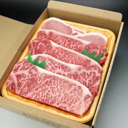 """""""送料無料""""国産ステーキ肉の食べくらべセット/黒毛和牛・国産牛肉・国産豚肉のサーロインステーキ肉各2枚入"""