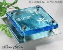 ブルー ステンレスプレート付きピュアガラス表札130角 gh130f-11 ガラス文字 ステンレスのサイズが選べます