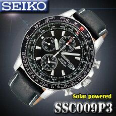 *送料無料サービス*セイコーSEIKOソーラーフリーガークロノグラフ100M防水腕時計SSC009P3【逆輸入】海外モデル【新品】