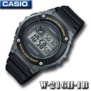 CASIO W-216H-1B SPORTS DIGITAL カシオ スポーツ デジタル メンズ 腕時計 1/100秒ストップウォッチ 黒 ブラック 海外モデル【新品】