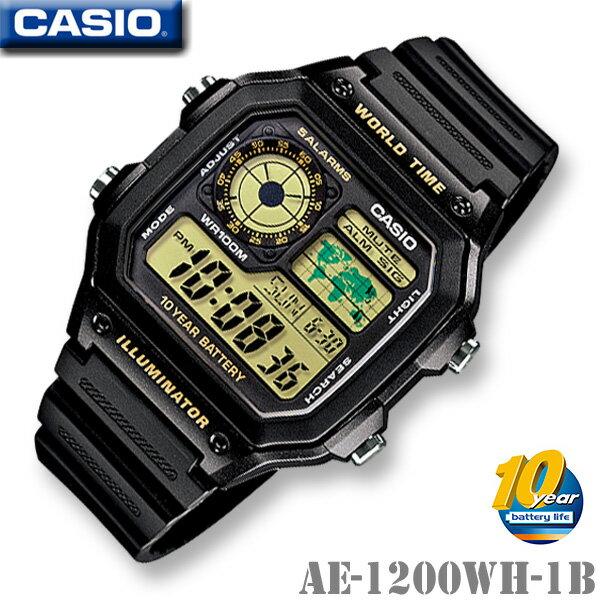 腕時計, メンズ腕時計 CASIO AE-1200WH-1B WORLD TIME STANDARD DIGITAL 1010