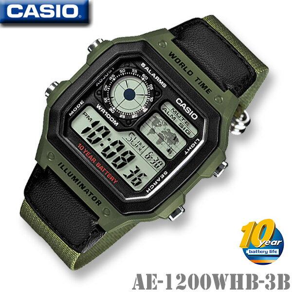 腕時計, メンズ腕時計 CASIO AE-1200WHB-3B WORLD TIME STANDARD DIGITAL 1010