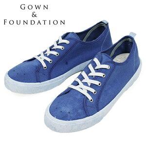 Gown&Foundation Garments × BLU-STAR キャンバス スニーカー INDIGO DYED メンズ ブルースター インディゴ 藍染め ガムソール イタリア製 男性用 靴 送料無料 楽天 通販 【RCP】