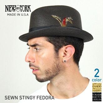 NEW YORK HAT SEWN STINGY FEDORA (hat women's straw hat black mens, New York Hat straw hat of ソウンスティンギーフェドラ #2327)