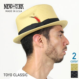 紐約紐約帽子經典東洋稻草帽子 2 顏色東洋經典竹黑稻草帽子男士女士們滴淚帽子 2271 (草帽酷稻草帽子和黑色稻草帽子草帽羽毛裝飾紳士裝稻草帽子)