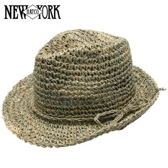 NEW YORK HAT Sea Grass Fedora (shade ladies natural straw hat mens, New York Hat straw hat of シーグラスフェドラ #7016)