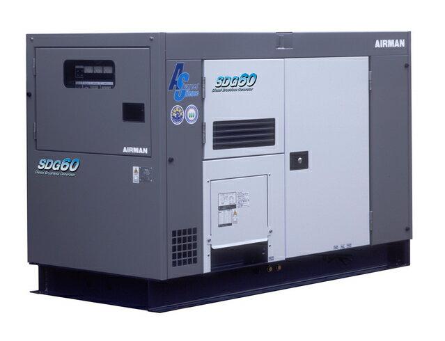 北越工業(AIRMAN) エンジン発電機 極超低騒音 60kVA <SDG60AS-3A6> 【インバーター 小型 家庭用 4サイクル 200v 防災グッズ インバータ発電機 風力 エンジン】