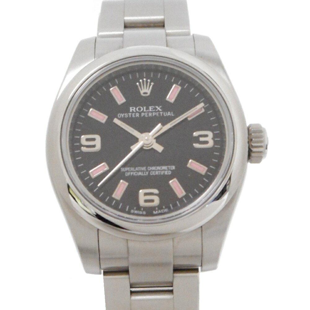 ロレックス 腕時計 オイスターパーペチュアル 176200 G番 レディース 自動巻き ルーレット ブラック文字盤/ピンク系