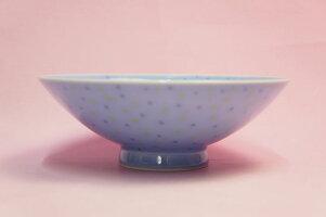 白山陶器平茶わん(青てんてん)【お茶碗ご飯茶碗】