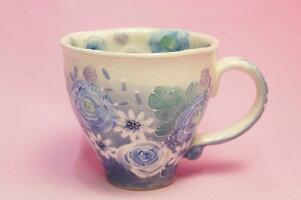ゆずりは藍彩花化粧マグカップ