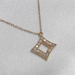 ひし形デザインダイヤモンドK18ネックレス【_包装】【smtb-TD】【saitama】