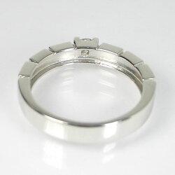 【男女兼用】3.5mm幅広ダイヤ入り18金ホワイトゴールドリング