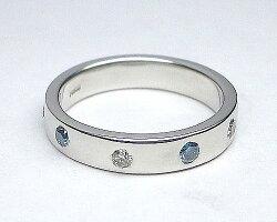 【ペア価格:結婚指輪】ブルーダイヤ入り/無しセットのPtリング