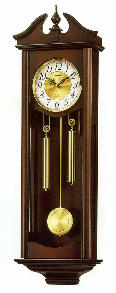 木枠の柱時計 壁掛け時計 振り子 木製 リズム RHYTHM キャロラインR 4MJ742RH06 文字入れ対応《有料》 取り寄せ品:森本時計店