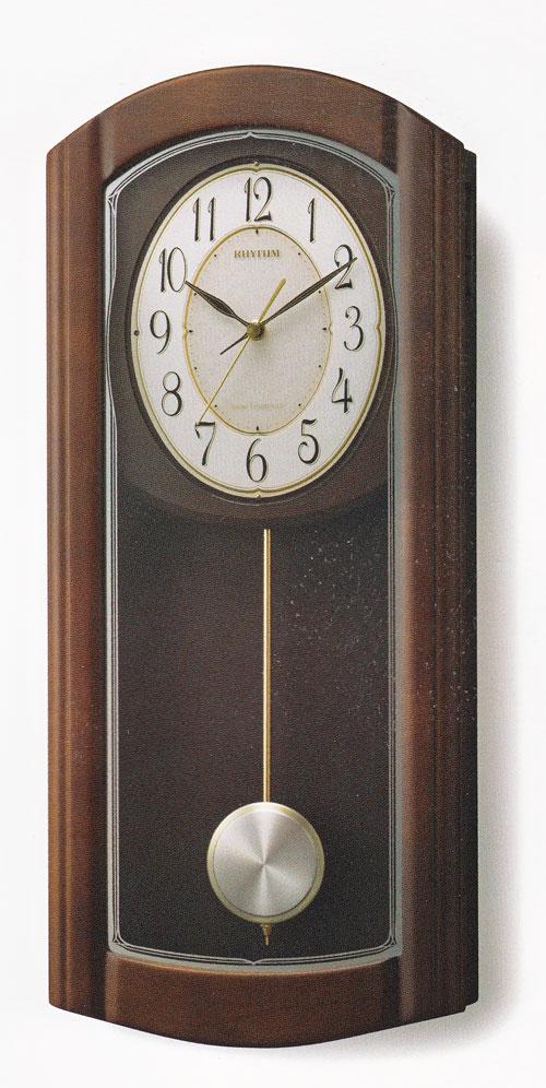 メロディ 振り子 柱時計 電波時計 木製 リズム RHYTHM 壁掛け時計 4MN475HG06 送料無料 文字入れ対応、有料 取り寄せ品:森本時計店