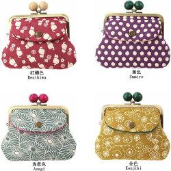 ふくれ織り親子がま口財布立体感のある凹凸和柄ふくれ織りシリーズ