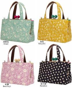 ふくれ織り仕切りがま口バッグ立体感のある凹凸和柄ふくれ織りシリーズ日本製