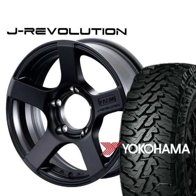 FARM J-REVOLUTION マットブラック 16×5.5J/5H±0ヨコハマ ジオランダー MT G003 185/85R16 ( yokohama geolandar マッドテレイン )