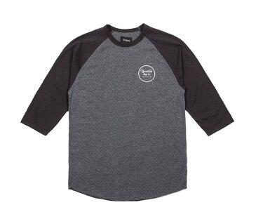 Brixton Wheeler 3/4 Sleeve Tee Charcoal Heather/Black ブリクストン 3/4 スリーブ Tシャツ チャコールヘザー/ブラック