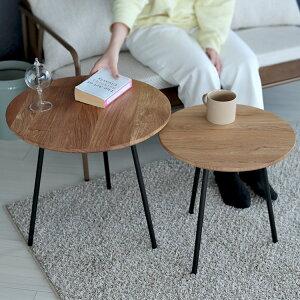 ネストテーブル 大小テーブルセット木製 サイドテーブル カフェテーブル ローテーブル φ500 φ400 オーク スチール MTS-192