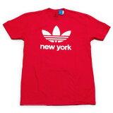 海外買い付けアディダスオリジナルスニューヨークTシャツ赤白ADIDASORIGINALSNEWYORKTSHIRTレッド海外限定ご当地TEENYNYCT