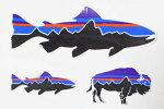 パタゴニアステッカーフィッツロイ3種セットPATAGONIAFITZROYSTICKERトラウトバイソンSET魚鱒釣シールカスタム新品ネコポス