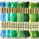 DMC社の刺繍糸 25番糸 グリーン系17色 豊富なカラーと使いやすい最高級の刺繍糸【メール便可】