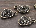 薔薇のチャーム5個アンティークゴールド金古美